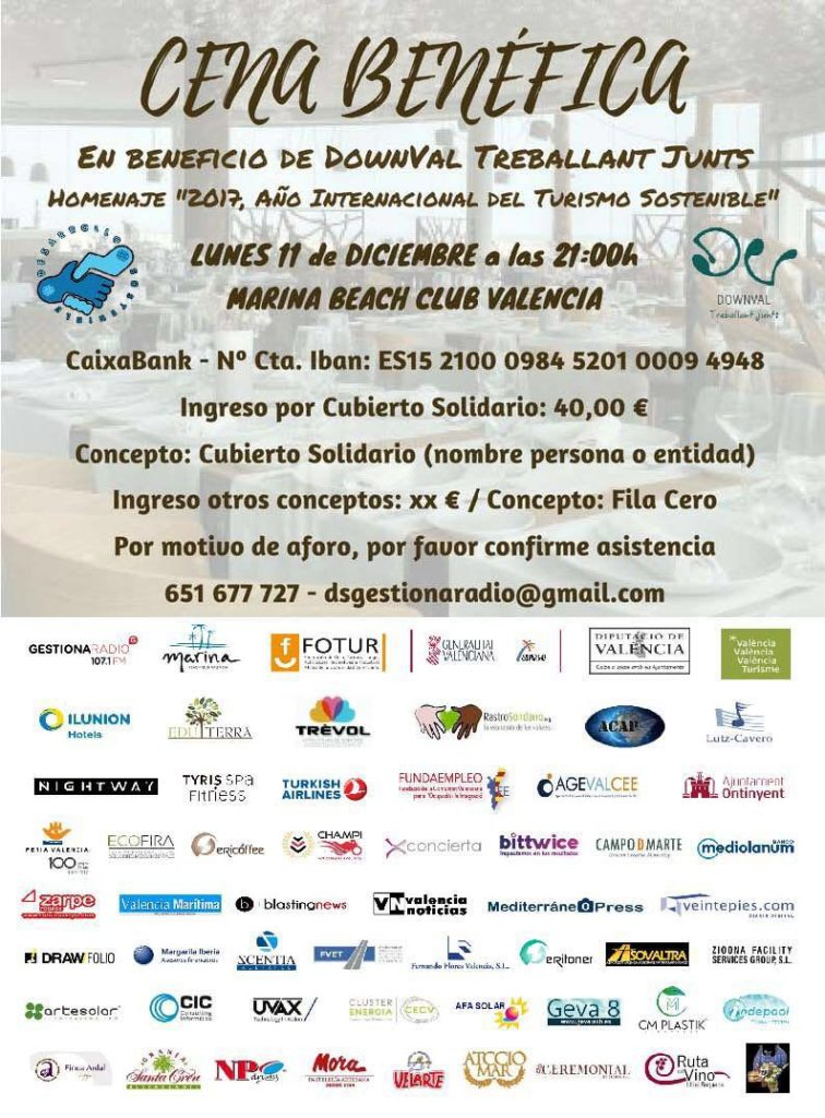 Cena Solidaria a beneficio de Down Valencia