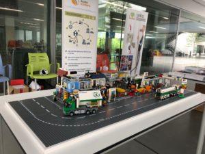 Ciudad de Lego donde se explica la gestión del aceite usado